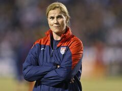 FILE - In this April 10, 2014, file photo, Jill Ellis, interim coach of the U.S. women's soccer team, watches her squad prepare for an international friendly against China in San Diego. Ellis has been named the U.S. national team coach on Friday, May 16, 2014, in the run-up to the women's World Cup next year in Canada. (AP Photo/Lenny Ignelzi)