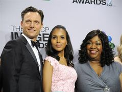 FILE - This Feb. 1, 2013 file photo shows, from left, actors Tony Goldwyn, and Kerry Washington from the ABC series