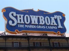 The Showboat Casino Hotel in Atlantic City N.J. is seen here on Friday June 27, 2014, hours after its parent company, Caesars Entertainment, announced it would shut down the Showboat on Aug. 31. It will be the second Atlantic City to close this year, along with The Atlantic Club, and a third may shut down as well if Revel Casino Hotel can't find a buyer in bankruptcy court. (AP Photo/Wayne Parry)