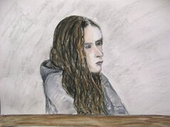 Meredith Borowiec appears in court in Calgary on March 26, 2013 in this court artist's sketch. THE CANADIAN PRESS/Janice Fletcher