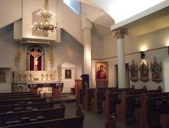 This miniature replica of the original church contains much of the original art work and furnishings.