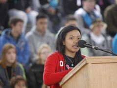 Marie Gravoso, Maples Collegiate student and member of the  Maples Amnesty Group speaks at event at The Forks.