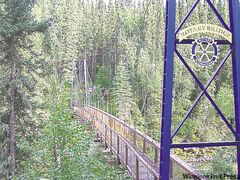 Suspension Bridge over Grass River below Pisew Falls.