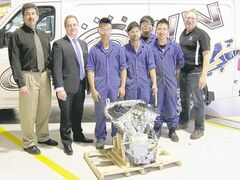 FROM LEFT: Neil Cooke (chair of transportation, math and science, Red River College of Applied Arts, Science and Technology), Brent Sayles (Crown Nissan general manager), Red River automotive technician program students Patrick Parong, Pranay Bhapnagar, Dwayne Tuason and Martin Borginia and academic co-ordinator Len Grieve.