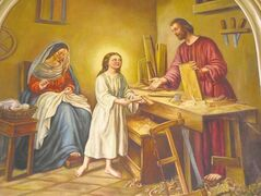 The Holy Family, painted by local artist Noella Gauthier-Yoeman, in the altar area.