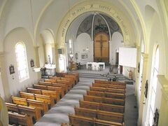 The restored interior of Sacr-Coeur de Jesus Roman Catholic Church.