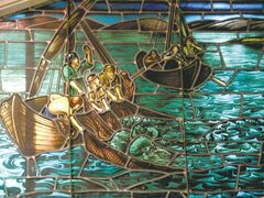 Detail of 'Fishers of Men' stained glass window in Gimli Lutheran Church .