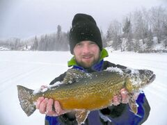 Brant Broone with a trophy tiger trout caught in Twin lakes.