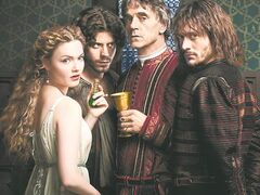 Lucrezia (Holliday Grainger), Cesare (Francois Arnaud), Juan (David Oakes), Rodrigo/Pope Alexander VI (Jeremy Irons) are shown in a cast photo from
