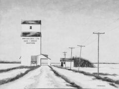 Joel Bouchard's paintings of Manitoba grain elevators on display at the Tiger Hills Art Gallery.
