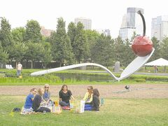 The Spoonbridge and Cherry is the most famous piece of art in the Minneapolis Sculpture Garden.