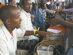 The UNHCR uses biometric imaging to register new refugees at Ifo II camp in Dadaab. The electronic system ensures the identity of the refugees, and has seen the number of refugees receiving services in Dadaab reduced from more than 400,000 to just over 357,000.