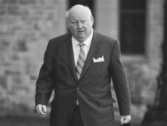Sen. Mike Duffy arrives to the Senate on Parliament Hill in Ottawa, Monday, October 28, 2013. When the independent audit into Sen. Mike Duffy�s contested expenses came out in May, there were plenty of questions and precious few answers. THE CANADIAN PRESS/Adrian Wyld