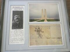 A family commemorative wall hanging shows John Scanlan's name on the Vimy Ridge Memorial.