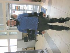 River City Ford team leader Bob Wall demonstrates Ford�s drunk driver suit.
