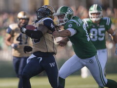 Bombers kick returner Troy Stoudermire took a 64-yard punt return to the house against the Riders Sunday.