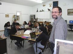 Teacher Mark Waldner's class on Decker Colony gets busy on their laptops.