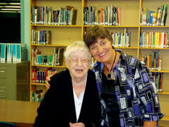 Elmwood High School Legacy Fund committee member Linda Boughton (right) is shown with donor Eileen Mainland.