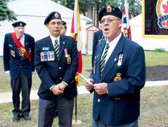Royal Canadian Legion Zone 64 zone commander George McCall speaks at a dedication for a sign at Canadian Legion Gardens on Sept. 26.