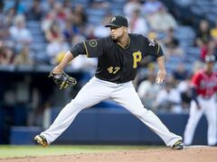Pittsburgh Pirates starting pitcher Francisco Liriano (47) works in the first inning of a baseball game against the Atlanta Braves Monday, Sept. 22, 2014, in Atlanta. Pittsburgh won 1-0. (AP Photo/John Bazemore)