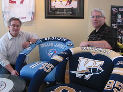 Kevin Hampton (left) and his brother Kerry display two of the custom chairs they market through their company Jersey Chairs Co.