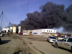 Firefighters battle a blaze at the Glanbia Nutritionals plant in Angusville.