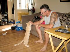 Brian Hrabarchuk feeds Simba a treat.