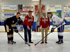 Pictured: (left to right) Garden City captain Blake DaSilva, Seven Oaks superintendent Brian O'Leary, Mondetta Charity Foundation chairman Kish Modha and West Kildonan captain Jordan Kreml.