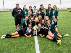 The FC Northwest U16 girls beat Portage Trail by a 2-0 score on Aug. 23 at Winnipeg Soccer Complex to win the 2014 Manitoba Soccer Association provincial championship competition and take home the MSA Cup. The team now advances to the U16 National Club Championships, which take place Oct. 8 to 13 in Mount Pearl, N.L. Top row, from left: Larry Ladobruk (coach), Alyshia DaSilva, Giordana Nocita, Donna Vergata (manager), Martino Vergata (coach), Gelsy Vanderhooft, Tiana Vergata, and Sydney Lisi. Middle row, from left: Kelsey Chmelnytzki , Hayley Ward, Jasmine Lotey, and Hailey Lavarias. Bottom row, from left: Sarah Lyle, Chantal Reis, Gabby Vivier-Hannay, Adrianna Karpa, Rebecca Martin, Madeline Comeau, Carina McLennan, and Nikki Neudorf. Ground, from left: Kezia Gesell, and Madison Fordyce.