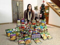 Dariya-Mariya Petryshyn recently collected 140 kilograms of food for Winnipeg Harvest.