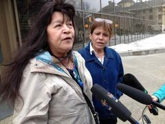 Mike Langan's mother, Sharon Shymko (right) and Mavis Sanders and  speak to the media after the inquest into Langan's death began Monday.