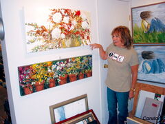 Lou Gaskin shows a few of her paintings that are displayed at her new gallery.