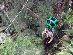 ADDS LOCATION AND ZIPLINE DISTANCE INFORMATION - This undated image released by Google on Monday, March 2, 2015 shows the company's Trekker device on a roughly 65-yard zipline above the Amazon jungle in Brazil. The images taken by the Trekker are the latest addition to the diverse collection of photos supplementing Google's widely used digital maps. (AP Photo/Google)