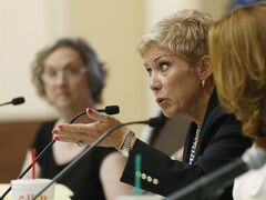 Janet Barresi, state superintendent, gestures as she speaks during a State Board of Education meeting in Oklahoma City, Wednesday, Aug. 27, 2014. (AP Photo/Sue Ogrocki)