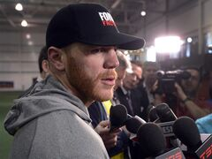 Boston Bruins right wing Shawn Thornton speaks to reporters during a media availability session Wednesday, May 7, 2014 in Brossard, Que. The Montreal Canadiens play the Boston Bruins in game four of round two of the Stanley Cup Playoffs Thursday, May 8, 2014 in Montreal. THE CANADIAN PRESS/Ryan Remiorz