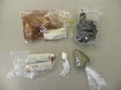 Items seized as part of an investigation by the RCMP and The Pas Correctional Centre.