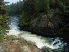 Wekusko Falls can be viewed from a suspension bridge built in 1961 by the Canadian Army Engineers.