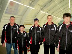 Team Radford is representing the Central Region in the junior boys curling competition at the Manitoba Winter Games. The team includes (left) coach Mark Radford, lead Coulton Gibb, second Noah Miller, third Jeremy Warne and skip Brandon Radford.