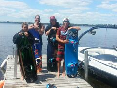 Members of the Westside Riders Wakeboard Camp recently practised at Lac du Bonnet. They are (left) Karleece LaPointe, Bobby Young, Zach Myers and Jess Polley.