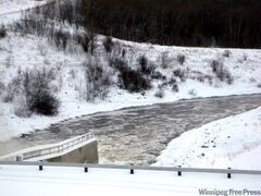 The Assiniboine River at the Shellmouth Dam, Asessippi Provincial Park in December.