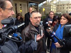 Robert Taman, outside the courthouse where Harry Bakema was acquitted on charges of breach of trust, obstructing justice and perjury, says the not guilty verdict for Bakema, 'two steps back for justice.' Bakema, the former East St. Paul police chief, was accused of deliberately botching a high-profile probe into the car crash that killed Taman's wife, Crystal, in 2005.