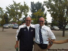 Love this shot sent to the Winnipeg Free Press by regular reader and diehard Bomber fan Matt Maruca. It was taken after the Labour Day game and features Bombers head coach Mike Kelly and lookalike Joe Blacker. Both will be at this Sunday's Banjo Bowl, with Blacker again dressed like the Bomber boss.