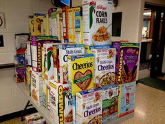 Cereal boxes collected by the students.