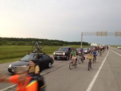 Campers in cars and on cyclists headed for Birds Hill Park this morning.