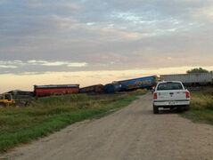 The scene of a train derailment Saturday.