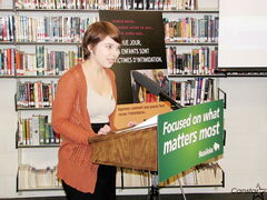 Garden City Collegiate gay-straight alliance member Cassandra Julyan speaks during a press conference announcing the provincial government's intent to promote anti-bullying initiatives in schools across Manitoba.
