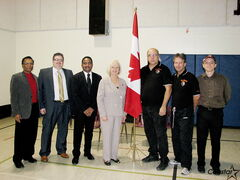 Kildonan-St.Paul MP Joy Smith visited Maples Community Centre on Nov. 16 to announce over $85,000 in federal funding for the Maples Recreation Association, or MRA. From left: MRA VP of operations Derek Dabee, Maples Basketball Club convenor Dirk Leavesley, MRA member Kamta Roy Singh, Joy Smith, MRA president Adam Tocci, and MRA members Derec Balagus and Tom Barak.