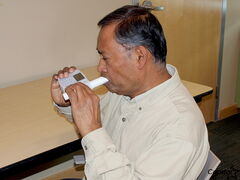 Robin Sukhan takes a spirometry test at Seven Oaks General Hospital. Sukhan was diagnosed with chronic bronchitis earlier this year and has since enrolled in the Seven Oaks-Wellness Institute Pulmonary Rehabilitation Program, which helps him manage the condition.