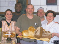 The staff at L'épi de Blé French Bakery (l-r): Sandy Tirleroux, salesperson; Ellie Degboe, assistant bakery chef; Thierry Bannier, pastry chef;  and owners Gilles and Nathalie Gautier.