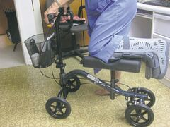 Columnist Bertha Klassen is adjusting to life with a knee walker after breaking her ankle while out for a walk.